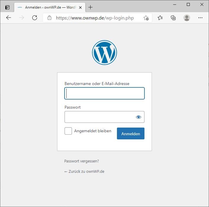Login Formular Deines WordPress Projektes