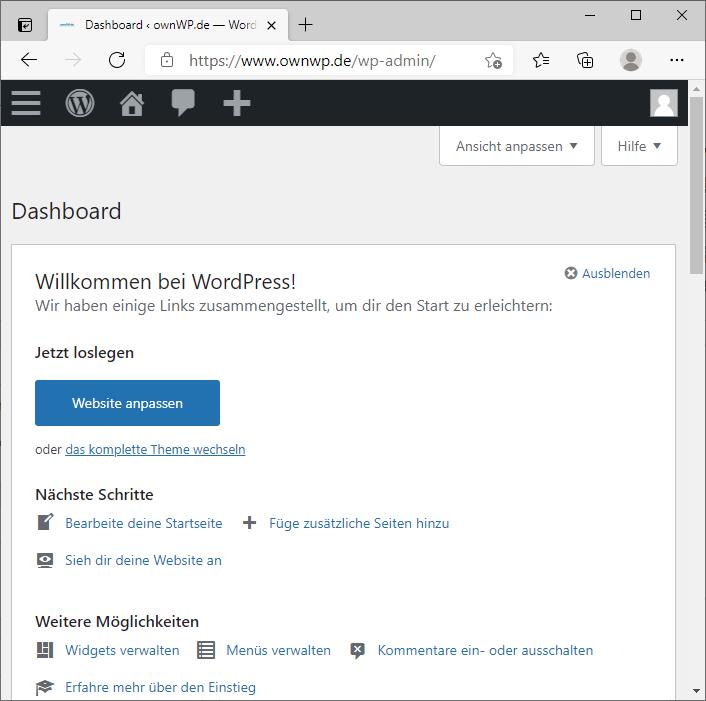 Admin-Daschboard eines WordPress Blogs