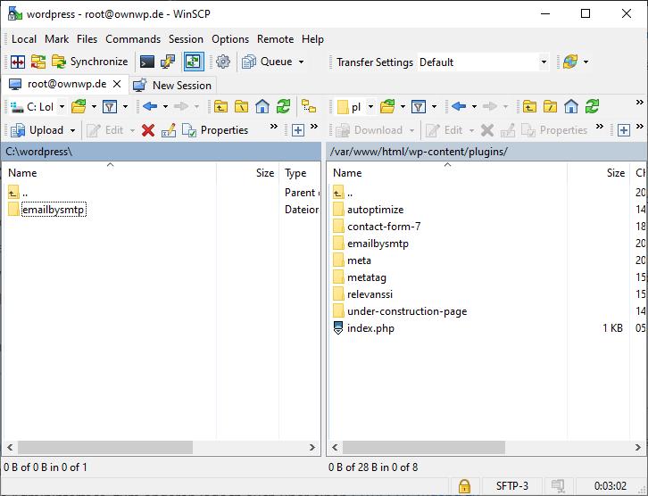 SFTP Upload eines WordPress-Plugins ist abgeschlossen